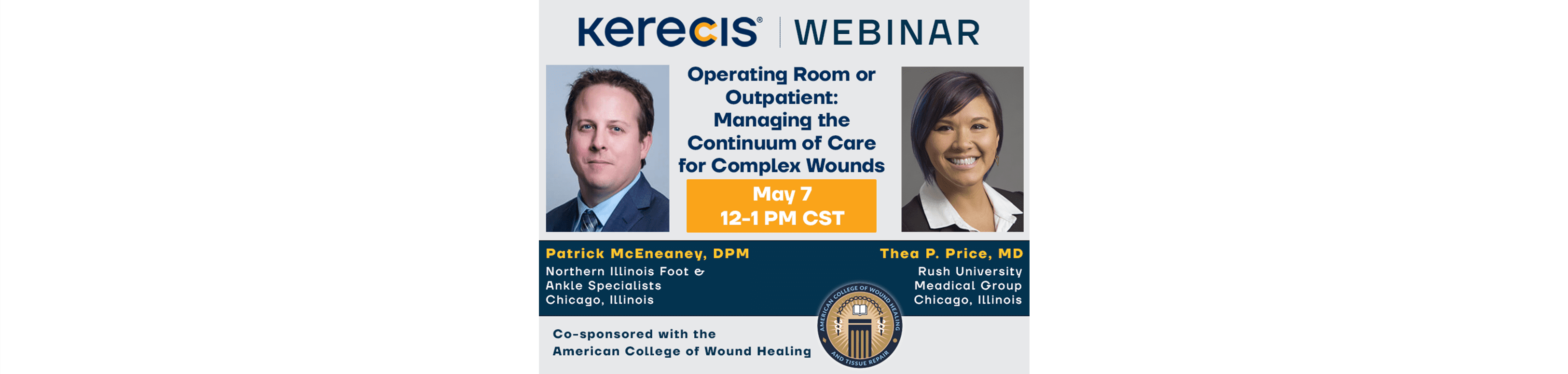 Patrick McEneaney and Thea Price in webinar hosted by Kerecis and ACWHTR